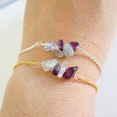 Natural Fluorite gemstone bar Bracelet ( Green Purple Healing gemstone )