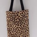 Animal Skin Tote Cotton Canvas  Fabric Eco Friendly Handmade Market, Library/