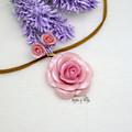 Personalised Rose Flower Pendant  with Earrings