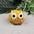 Cute Yellow Button Owl - Paperweight / Ornament - Solid Button Filled Resin