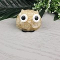 Cute White Button Owl - Paperweight / Ornament - Solid Button Filled Resin