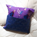 Book Pocket, Cushion Cover,  Pillow Book,  Frozen Sisters Disney Movie  Fabric.