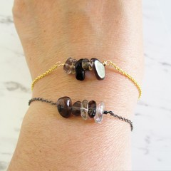 Natural Smoky Quartz gemstone bar Bracelet ( Black Gray Clear healing Stone )