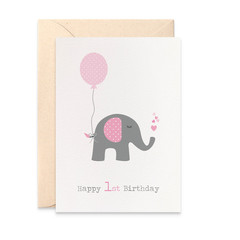 1st Birthday Card Girl, Elephant with Pink Party Balloon Card, HBC195