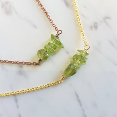 Natural Peridot gemstone bar Necklace ( August birthstone Green Healing stone )