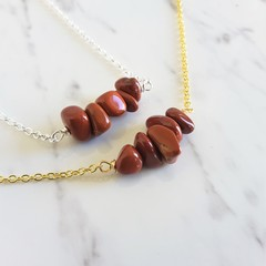 Natural Red Jasper gemstone bar Necklace ( Brown healing gem Meditation Stone )