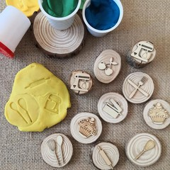 Timber Playdough Stamp Set Baking Set