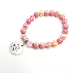 Live, laugh, love beaded charm bracelet