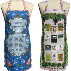 Metro Retro WEDDING ANNIVERSARIES or WINE LABELS Vintage Tea Towel Apron.