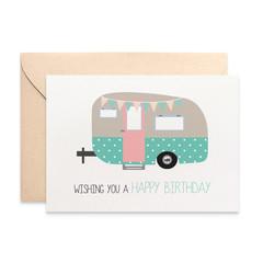 Birthday Card Female, Caravan Card, Vintage Caravan with Bunting, HBF153