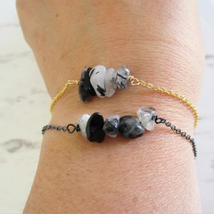Natural Black Rutilated Quartz gemstone bar Bracelet ( Crystal healing Stone )