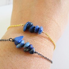 Natural Lapis Lazuli gemstone bar Bracelet ( September birthstone Blue gem )