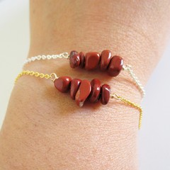 Natural Red Jasper gemstone bar Bracelet ( Brown healing gem Meditation Stone )