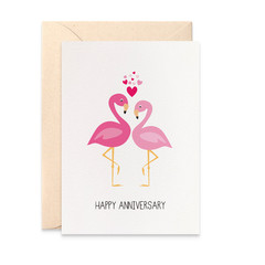 Wedding Anniversary Card, Pink Flamingos Card, HWA016