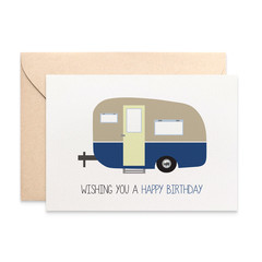 Male Birthday Card, Happy Birthday Male Card, Blue Caravan Camper Card, HBM064