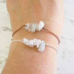Natural Rutilated White Quartz gemstone bar Bracelet ( Crystal healing Stone )