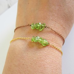 Natural Peridot gemstone bar Bracelet ( August birthstone Green Healing stone )