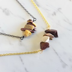 Natural Mookaite gemstone bar Necklace ( Australian jasper Brown Healing stone )