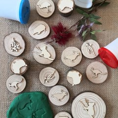 Timber Playdough Stamp Set Aussie Set