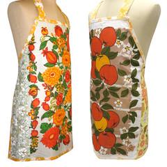 Metro Retro Orange Bold Floral OR Apples Tea Vintage Towel Apron * Birthday Gift