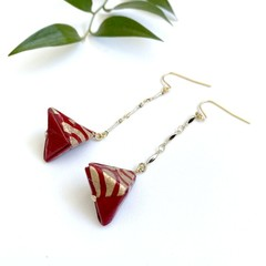 Origami Pyramid (Sankaku sui)  Drop Earrings - Red