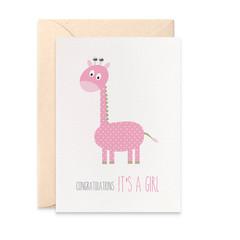 Baby Girl Card, Pink Giraffe Card, New Baby Card, BBYGRL034