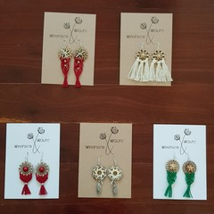 Christmas Macrame Earrings on Sterling Silver Hooks