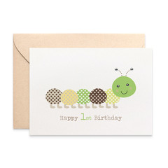 1st Birthday Card, Boy Birthday Card, Green and Brown Caterpillar Card, HBC211