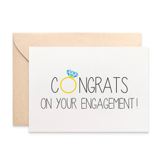 Engagement Card Congratulations, Congrats with Diamond Ring, ENG020