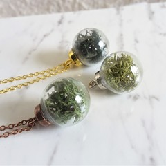 Green Moss glass terrarium charm necklace ( Gold Silver Black Bronze Brown )