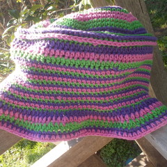 my stripey summer hat no.1 purple, green and pink. Sun hat, beach wear, sun smar