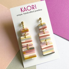 Polymer clay earrings, statement earrings in pink mustard stripe