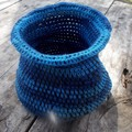 Crocheted pot made from cotton yarns in blues and black - handmade for home
