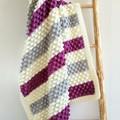 Plum, Cream & Grey Newborn Hand Crocheted Bobble Baby Blanket