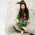 Elf brooch, art doll , Christmas ornament, fabric jewelry