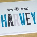 Personalised Birthday card - name and sports ball