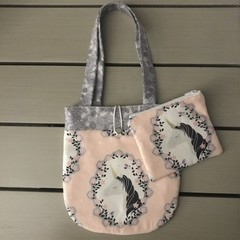 Pink and grey unicorn handbag and purse