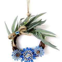 Australian Native Eucalyptus Floral Beach Coastal Grapevine Wreath 18 cm