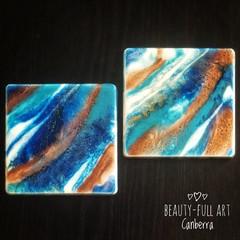 Set of 2 Resin Art Drink Coasters