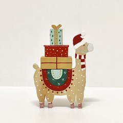 Hand painted Wooden Christmas Llama Stacker.
