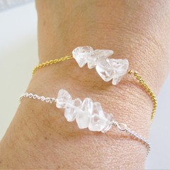 Natural Clear Quartz gemstone bar Bracelet ( Crystal healing Stone Power stone )