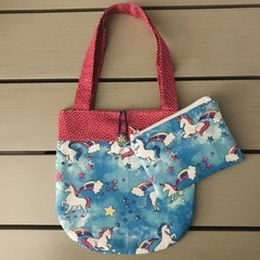 Blue and pink unicorns handbag and purse