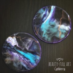 Set of 2 Resin Art Drink Coasters