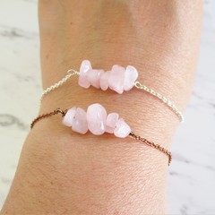 Natural Rose Quartz gemstone bar Bracelet ( Pink Crystal healing Stone )