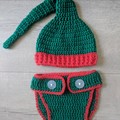 Crochet Christmas Elf Newborn Outfit