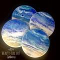 Set of 4 Ocean Inspired Resin Art Drink Coasters