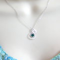 Necklace Christmas Gift, Personalized Brthstone And Initial Necklace