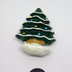 White Christmas tree brooch