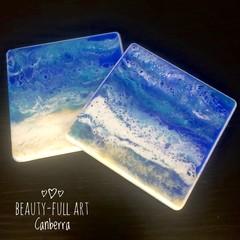 Set of 2 Ocean Inspired Resin Art Drink Coasters