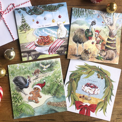 Australian Christmas cards pack of 5, Choose your own mix,  Hand illustrated